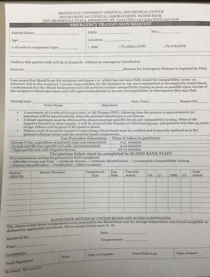 Emergency Blood Request Form